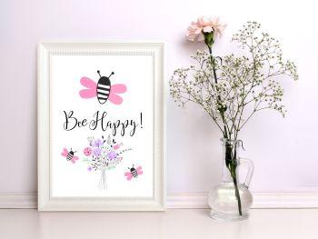 Bee Happy Art Print