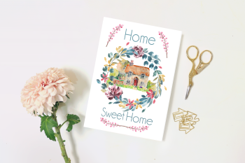 Home Sweet Home, New Home Card, Blank Card - 5 x 7