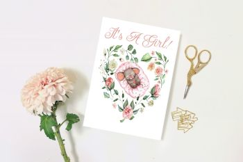 It's a Girl, New Baby, Gender Reveal, New Parents, Blank Card, Greetings Card  - 5 x 7