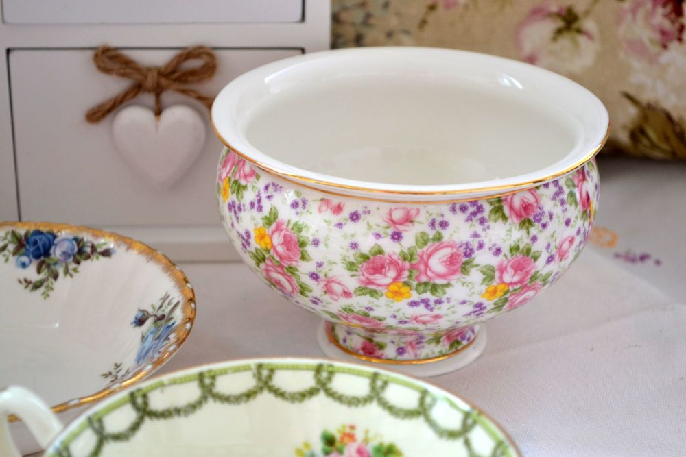 Vintage Chintz China Bowl - Roses and Wildflowers