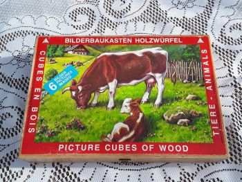 Vintage 1950s Picture Cubes of Wood, Childrens Game