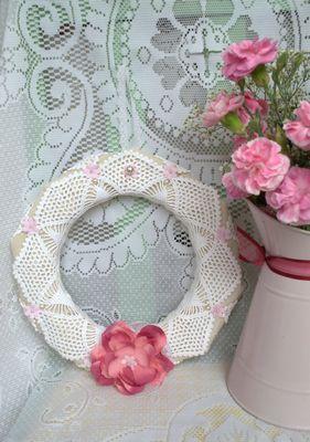 Handmade Doilie Flower Wreath