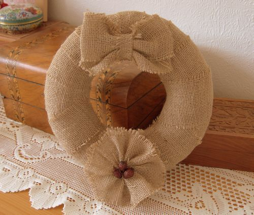 Handmade Rustic Burlap Wreath - 10