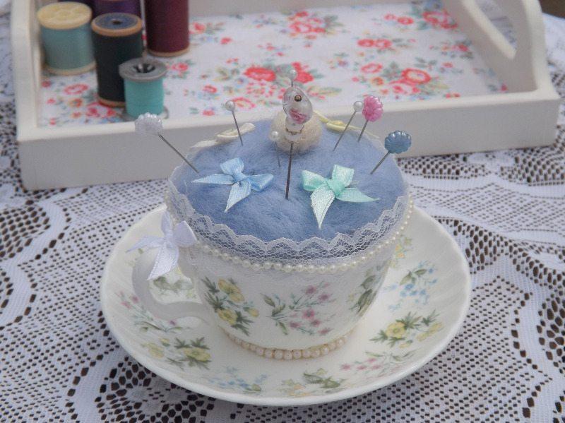 Handmade Spring Valley Vintage Tea Cup Pin Cushion