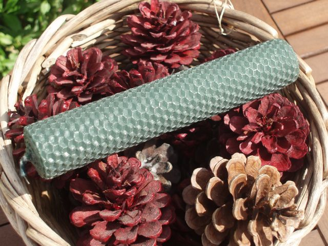 Large Handrolled Emerald Green Beeswax Candle