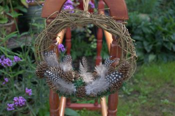 """Rustic Handmade Feather and Pine Cone 8"""" Wreath"""