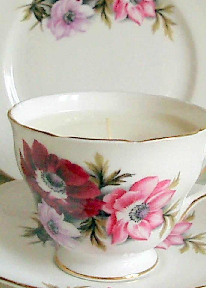 Vintage Tea Cup Soy Wax Candle Tea Trio