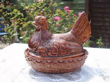 Vintage Brown Glaze Pottery Chicken Egg Holder