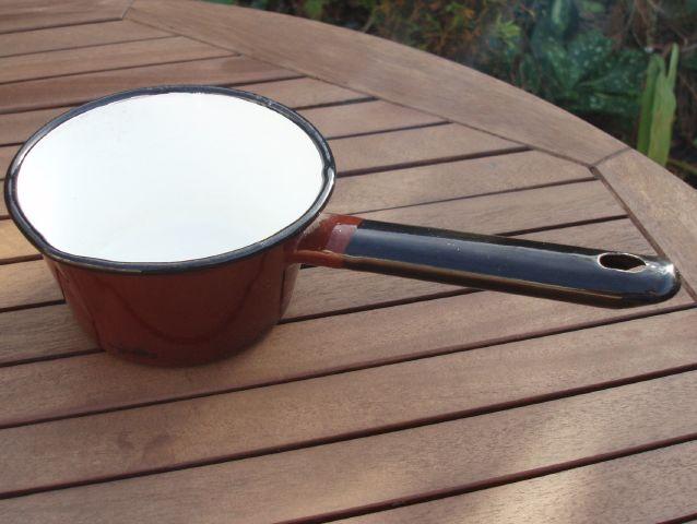 Vintage Enamelware Half Pint Milk Pan