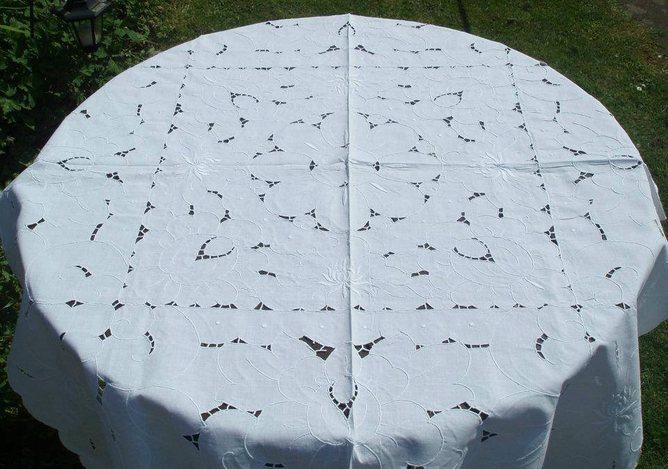Vintage Openwork and Embroidered Tablecloth