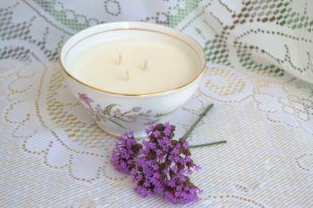 Handmade 3 Wick Vintage Sugar Bowl Soy Wax Candle