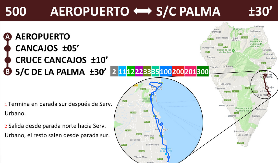 Bus timetable maps la palma