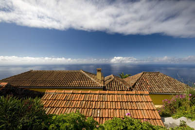 over the roofs, view of bay of Franceses, Garafia, La Palma, Canary Islnds