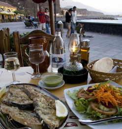 Fresh fish restaurants at Tazacorte puerto La Palma