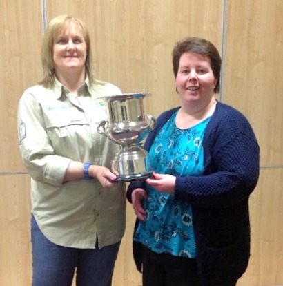Jenny Casey (pictured right) being presented with the trophy for Top Angler of the Year by Julie Gerry, 2016 Chairperson.