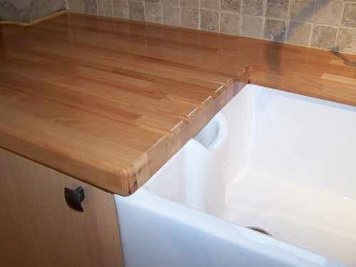 Solid Beech tops with drainer grooves
