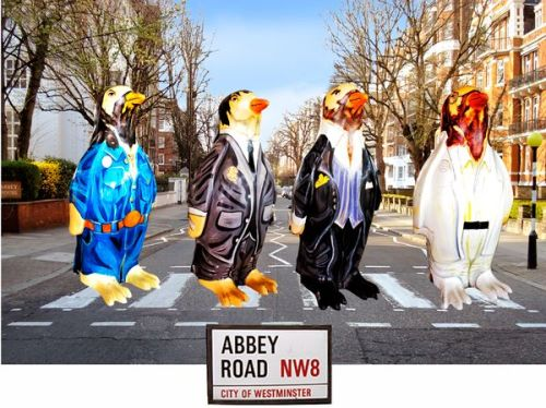 Beatles Penguins crossing Abbey Road - Tent Fold photo card (L029)