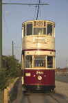 Liverpool Corporation Tram - Destination Prescot - Side fold photo card