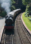 Steam engine 'Repulse' approaching Haverthwaite Station- Side fold photo card