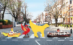 Abbey Road crossing with Fab 4 Liverpool Icons - tent fold Photo Card (L027)