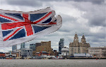 Liverpool Waterfront, Mersey Ferry and Flag (0549)