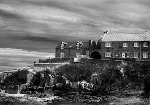 Stormy Craster, Northumberland, England.  Tent fold photo card