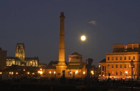 Moon at the Albert Dock, Liverpool
