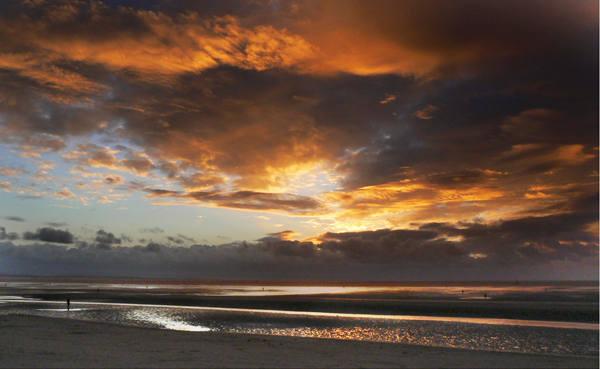mersey-sunset with Antony Gormleys Iron Man Photographic Print