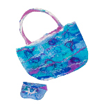 Unique design handmade felt bag in blues & purples with matching purse