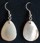 Cream teardrop shaped earrings - for pierced ears