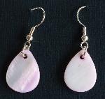 Pink teardrop shaped earrings - for pierced ears