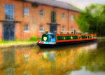 Narrow Boat on Leeds Liverpool canal - Tent fold photo card
