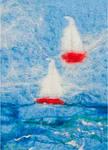 Yachts - image of handrolled felt creation on Side fold photocard (P14880C)