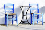 Table and Chairs, Paphos, Greece - Tent Fold A6 gloss photocard