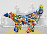 Superlambanana with collage of others travelling along the Mersey  (L017)