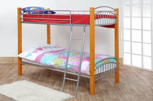 <!-- 009 -->The Barcelona Bunk Bed In Beech + Mattress x 2