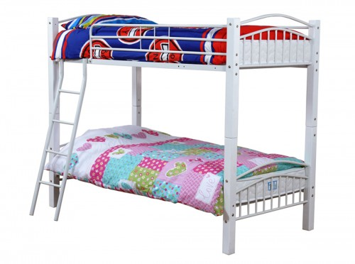 <!-- 0010 -->Barcelona Bunk Bed in White + Mattress x 2