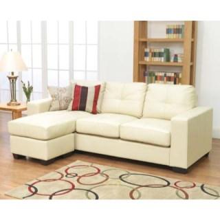 The Germona Ivory Leather Corner Sofa