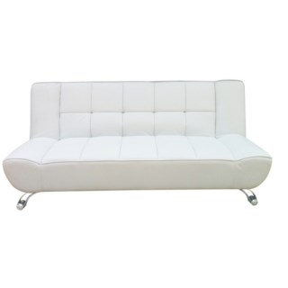 <!-- 011 -->The Vogue White Leather Sofa Bed