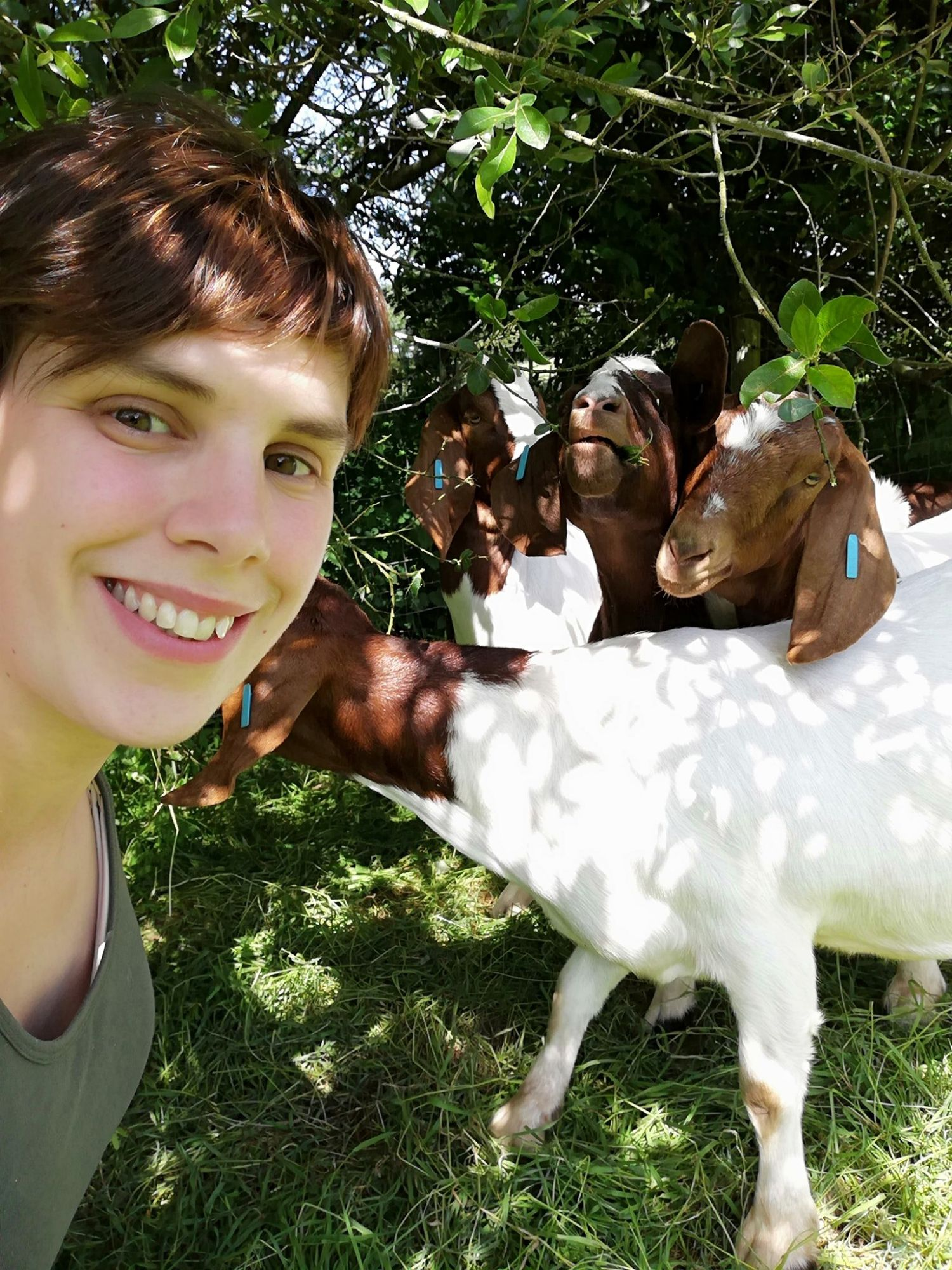 Beth with our Boer goats