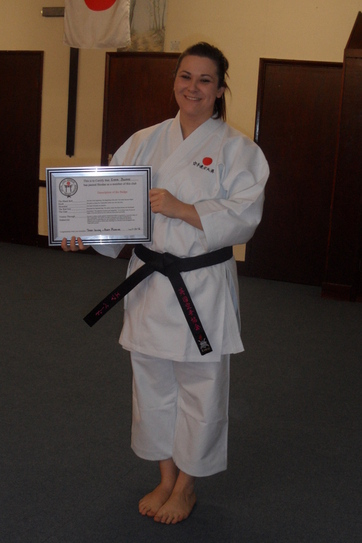Emma with her club certificate