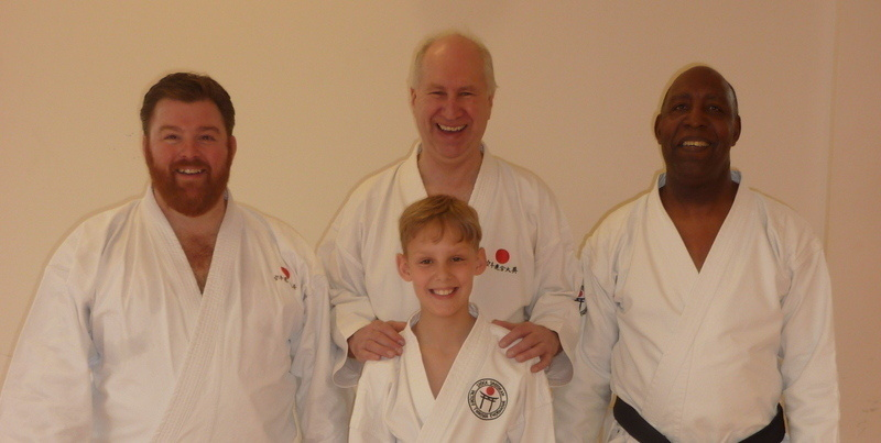Sensei Poynton with Sensei Terry, Sensei Adam and Lee