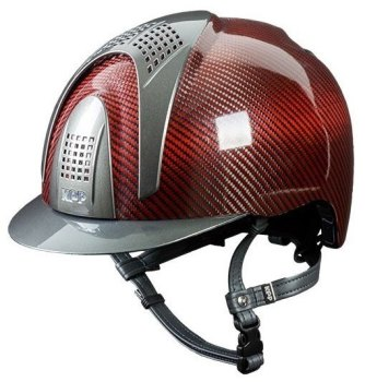 KEP E-Light Carbon Helmet - Shiny Red Carbon With Metallic Grey Inserts and Visor (£1000.00 Exc VAT or £1200.00 Inc VAT