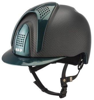 KEP E-Light Carbon Helmet - Matt Carbon With Shiny Green Visor, Front & Back Vents (£832.50 Exc VAT or £999.00 Inc VAT)
