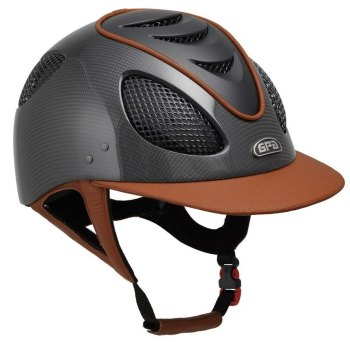 GPA New Generation EVO+ 2X Carbon Leather Riding Helmet - Chestnut Leather Black Grills & Vent (£816.67 Exc VAT & £980.00 Inc VAT)