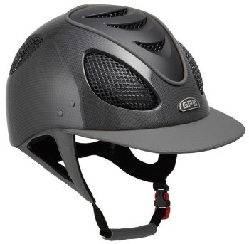GPA New Generation EVO+ 2X Shiny Carbon Leather Riding Helmet - Grey Leather Black Grills & Vent (£816.67 Exc VAT & £980.00 Inc VAT)