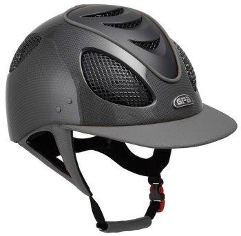 GPA New Generation EVO+ 2X Shiny Carbon Leather Riding Helmet - Grey Leather Black Grills & Vent (£816.67 Exc VAT & £980.00 Inc VAT)
