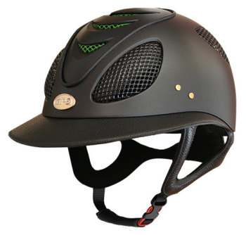 GPA First Lady 2X Leather Riding Helmet - Black/Green (£582.50 Exc VAT & £699.00 Inc VAT)