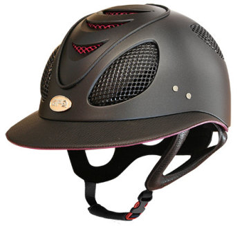 GPA First Lady 2X Leather Riding Helmet - Black/Pink Dahlia (£582.50 Exc VAT & £699.00 Inc VAT)