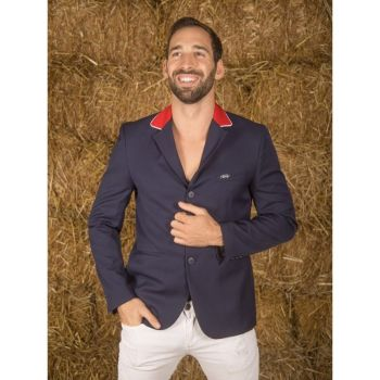 GPA NASKA Men's Show Jacket - Navy with Red Collar (Price £249.17 Exc VAT & £299.00 Inc VAT)